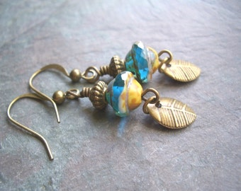 """Blue Czech Glass Earrings / Gold / Beads / Drop / Dangle / Saucer / Antique Brass / Leaf / Charm - 1 7/8"""" long - E20"""