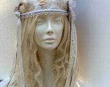 crocheted wedding head dresses