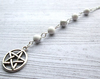 White Witch necklace, wiccan necklace, wicca jewelry, pagan jewellery, pagan necklace, pagan path, witchcraft, Pentacle necklace, pentagram
