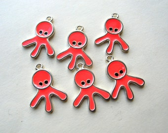 Octopus Charms - Octopus Pendant - Orange Octopuses - Charm Lot - Silver Tone - Orange Alien Charms