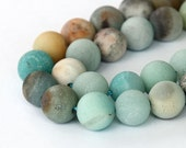 Matte Amazonite Beads, Multicolor, 12mm Round - eGR-AZ003-12