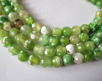8 mm faceted quartz beads, full strand, light green shaded, 47 beads, round, semi-precious