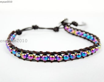 Handmade Natural 4mm Multi-Color Hematite Gemstone Smooth Round Beads Dark Brown String Leather Wrap Bracelet Silver Plated Button Closure