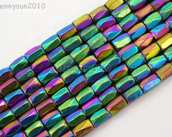 Natural Metallic Multi-Colored Magnetic Hematite Gemstone Faceted Tube Beads 5x8mm Great For Jewelry Design