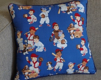 """Retro Baseball Pillow in Blue and Brown - """"Retro Batter Up Pillow"""""""