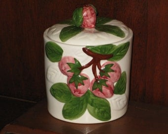 Pretty Strawberry Canister Coffee Tea Jar Made in Portugal Painted Crock