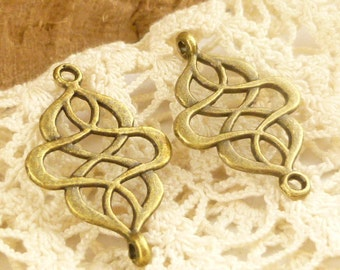 Antiqued Bronze Swirl Filigree Connector Charms (6) - A29