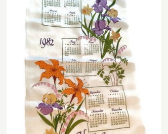 ON SALE Vintage 1982 Cloth Calendar Pure Linen Have A Good Day