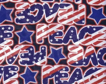 Fat Quarter USA Stars & Stripes Love and Peace Printed Cotton Quilting Fabric