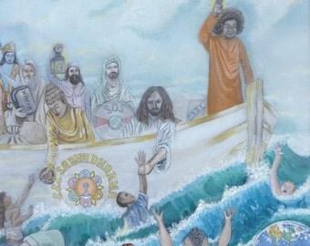GICLEE PRINT Sathya Sai Baba: S.S.S. Sarva Dharma (Unity of Faiths) Canvas Print