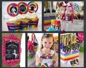 Unicorn Party Package, Rainbow Party Package, Rainbow Unicorn Birthday Pack - Chalkboard PRINTABLE Pennant Flag Girl Theme Stripe Polka Dots
