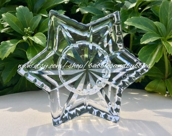 CASHS OF IRELAND Crystal Star / Star Of David Tea Light Candle Holder + Fast Shipping