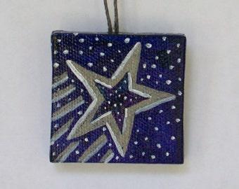 Shooting Star Miniature, Night Sky Painting, Hostess Gift, Bottle Decor, Night Star, Starry Night