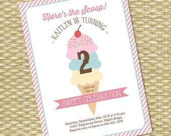 Ice Cream Party Invitation Birthday Party Invite Ice Cream Social Here's the Scoop Children's Birthday Kids Birthday 1st Birthday First