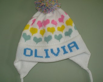 PERSONALIZED  earflap  hat - Rose, Addison, Olivia or Sienna