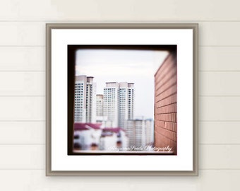 Singapore Street photo, Architecture, through a window, Lensbaby, Edge 80, Buildings, Urban, Wall decor, Cityscape, Christmas, ttv