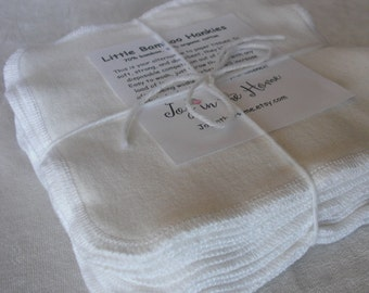 24 perfect little bamboo hankies -  7x7 inches - organic - natural color