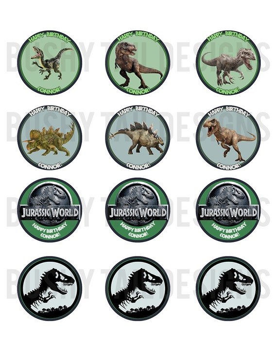 Jurassic World Cupcake Toppers Set Digital
