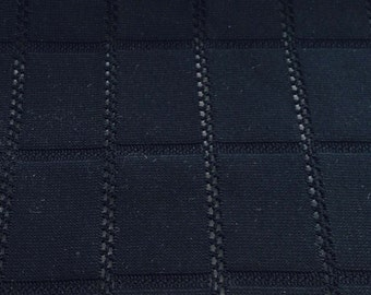 "Black Jersey Knit Fabric with Woven Rectangular Pattern Listing for 1 yard & 53"" - F-59-13 - Made in France"