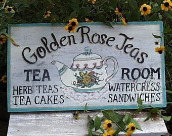 Golden Rose Tea Room Sign...Customize It