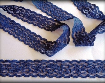 Stretch Floral Lace Trim, Navy, 1 inch wide, 1 yard, For Apparel, Accesories, Home Decor, Gifts, Victorian & Romantic Crafts