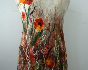 Felted tunic dress poppies autumn fashion