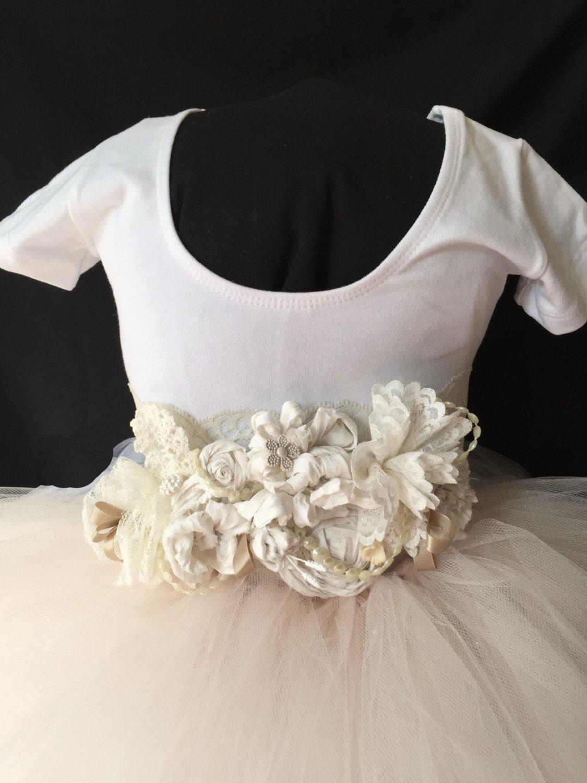 Blush White Flower Girl Dress