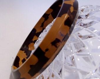Caramel and Chocolate Bakelite Bangle Bracelet Unusual Combo