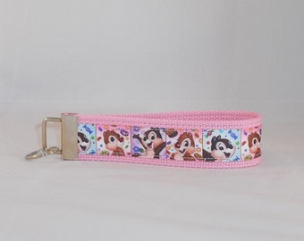 Keychain Wristlet Made With Chip and Dale Chipmunk Inspired Ribbon