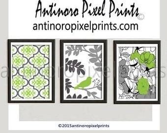 Unframed Chartreuse Apple Green Grey Bird Flower Damask Art Print  - Set of (3) 8x10 Print White (Unframed)