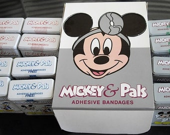 Collectible Advertising Tins Mickey and Pals Sealed, Original Box Mickey Mouse Adhesive Bandages Tins Unopened, Donald duck, Dr. Mickey tins