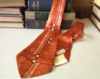 Silk Mens Neck Tie Cravat, Made in Elkhorn Wisconsin USA, Burnt Orange with Flowers Writer Author Professor Gift,  Retro Art Deco Tie