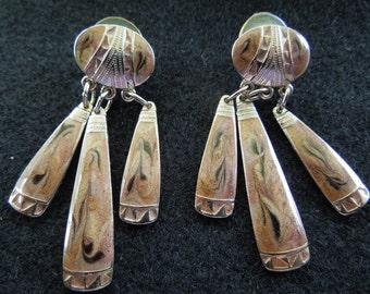 Vintage Post Earrings.  Dangle Type.  Silver Tone and Swirly Enamel.