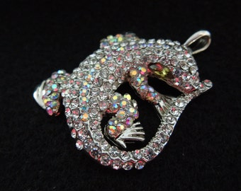 Vintage Lizard Pendant, Covered in Rhinestones, Very Pretty Piece