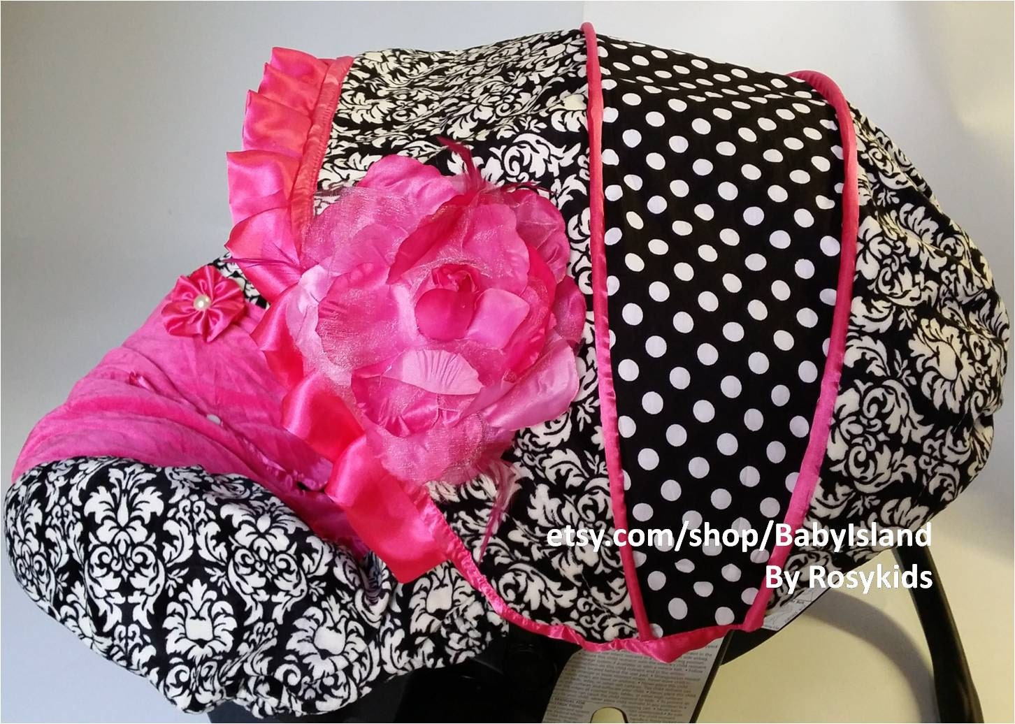 baby car seat cover canopy infant car seat cover canopy damask polka dots hot pink for baby. Black Bedroom Furniture Sets. Home Design Ideas