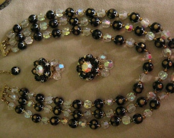 Vintage Signed Emmons Crystal and Star Bead Triple Strand Necklace and Earrings.