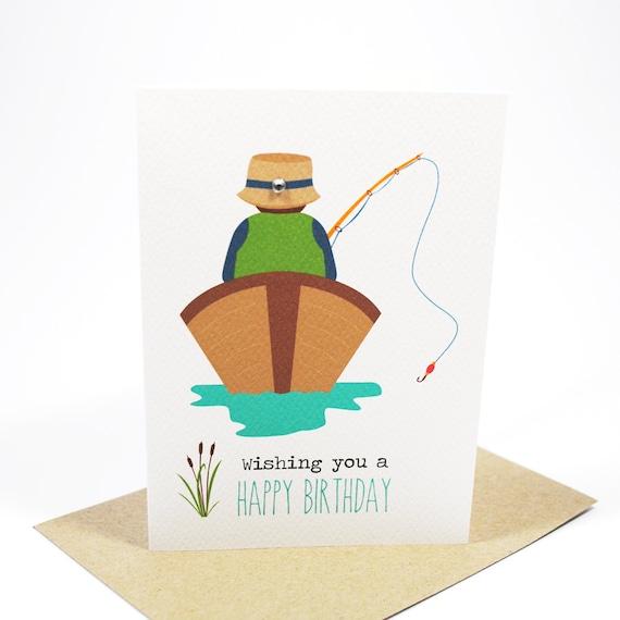 Marvelous Birthday Card Male Gone Fishing Man In Boat By Mumandmedesigns Funny Birthday Cards Online Benoljebrpdamsfinfo