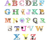 Easy Peel and Stick Animal Alphabet Wall Decal Stickers Nursery Kids Zoo