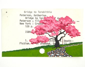 Bridge to Terabithia Library Card Art - Print of my painting on library card catalog card