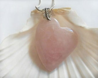 Rose Quartz Necklace, Heart  Pendant