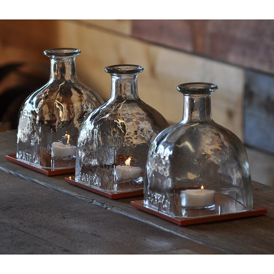 Patron bottle hurricane lamp table centerpiece for Glass bottle centerpiece ideas