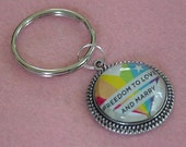 LGBT Gay Pride Rainbow Heart Freedom to Love Marry Keychain Key Ring FREE SHIPPING