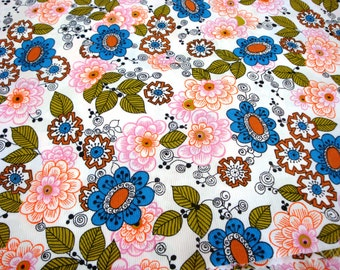 Vintage Fabric - NOS Vintage Fabric - Retro Fabric - 1970's Fabric - Flowered Fabric - New Old Stock Vintage Fabric