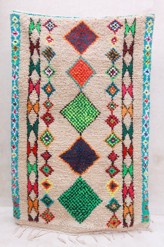THE FESTIVAL CART 7'x4' Boucherouite Rug. Tapis Moroccan. Teppich Berber. Mid Century Modern Danish Design Compliment.