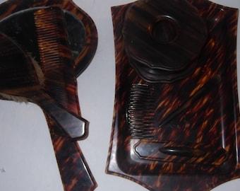 Vintage bakelite tortoise looks dresser set, beautiful 10 piece set, sturdy, heavy, brush, mirror comb