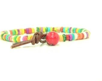 Multicolor Heishi Magnesite Beaded Leather Wrap Bracelet,  Single Wrap, Boho