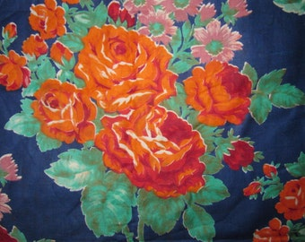 Vintage Russian USSR Printed Cotton Fabric Roses New Floral