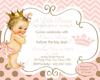 Princess Baby Shower Invitation Girl Princess Baby Shower Invitations Printable Invitation Printable Baby Shower Princess Invitations Crown