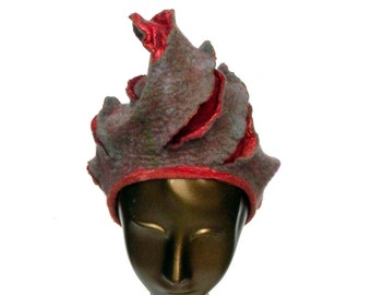 Felted Hat with Turban Style - Earthy Autumn Gray and Coral - Warm Winter Hat - Handdraped Wool Felt
