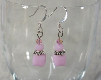 Light PINK Swarovski CUBE EARRINGS Glass Beads with Sterling Silver plated ear hooks for women, ladies, Valentine's Day